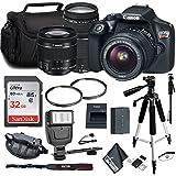 Canon EOS Rebel T6 DSLR Camera 18-55mm Lens Canon EF-S 75-300mm Lens, Tripod, Flash 32GB Memory Card Combo Kit