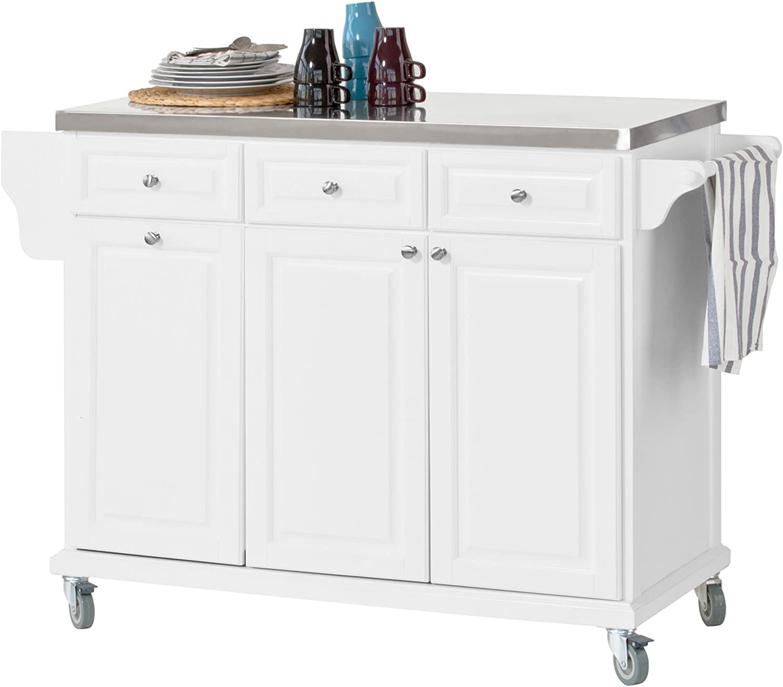 Sobuy Fkw33 W Luxury Kitchen Trolley With Large Storage Cabinet
