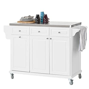Sobuy Fkw33 W Luxury Kitchen Trolley With Large Storage Cabinet Kitchen Island With Stainless Steel Worktop White