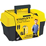 Stanley Jr. - Tool Box and 5 pcs Set of Tools, Tool Set Ages 5+ (TBS001-05-SY), Mixed