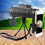 Monocular Telescope, Outdoor Portable High-powered Wide-angle Monoculars Zoom Lens Night Vision Travelling Telescope with Tripod Cell Phone Holder for Hunting Camping Birds Watching
