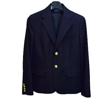 Ralph Lauren Blazer en Laine Boy Bleu Marine pour Femme  Amazon.fr   Vêtements et accessoires 9bc3b752547