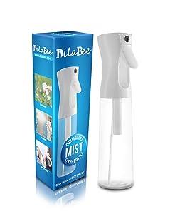 Continuous Mist Empty Spray Bottle For Hair, 10 Oz - Salon Quality Mold-Resistant 360 Water Misting Sprayer - Pressurized Aerosol Stylist Spray Mister BPA Free