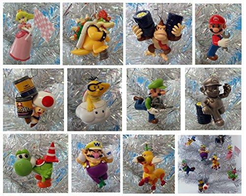 MARIO KART Inspired Racing Super Mario Brothers Themed Set of 11 Holiday Christmas Tree Ornaments Featuring Bowser, Mario, Wiggler, Lakitu Spiny, Toad, Luigi, Yoshi, Donkey Kong, Wario, and Princess Peach - Ornaments Range From 2