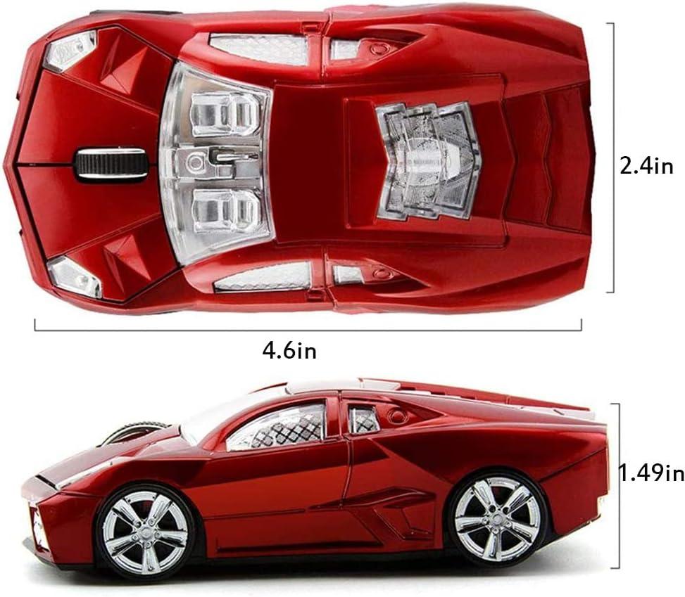 2.4G Souris sans Fil Optique, Souris De Jeu sans Fil Design De Voiture, Ordinateur De Souris USB, Souris sans Fil De Pcs,Jaune Red