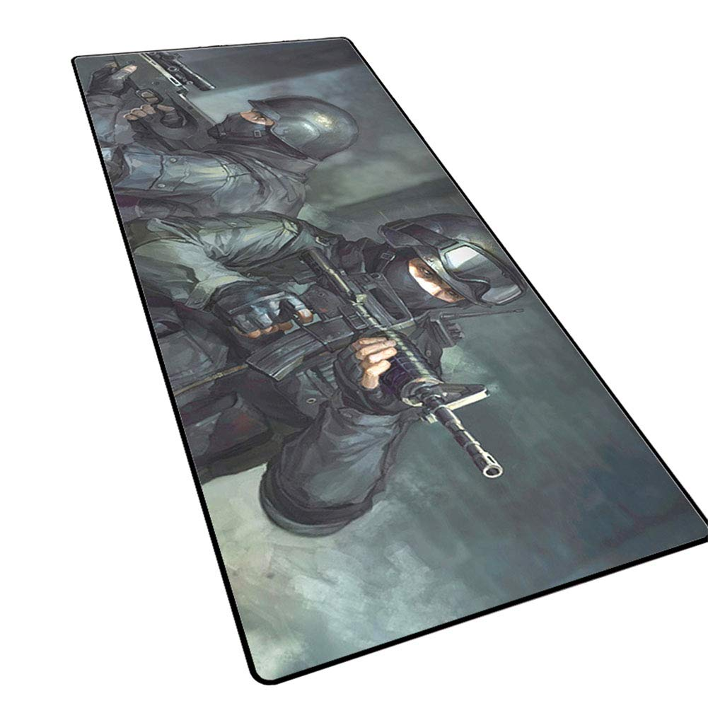QOGER Oversized Gaming Mouse pad, 3mm Thick Keyboard pad, Non-Slip Padded Table mat, Beast/ak/Warcraft Cartoon Anime characters-14-80x30cm by QOGER