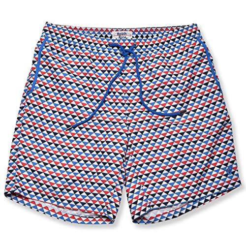 Beach Bros Men's Swim Trunks - Quick Dry Bathing Suit w/Elastic Waistband & Pockets - Infinite Red, Small (Waist: 29