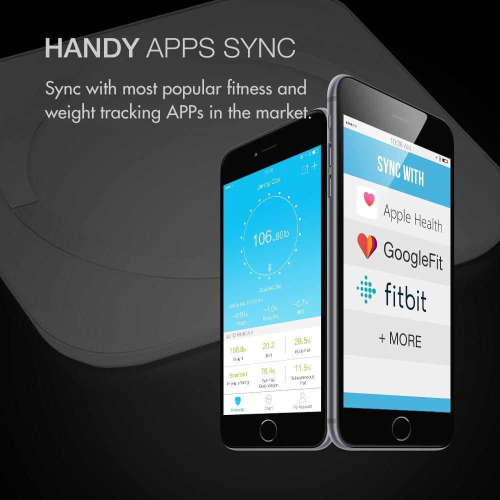 Multifun Báscula de Baño Inteligente con App en Españo de Bluetooth Balanza con con Análisis Corporal de 13 Funciones Mini Escala Digital para Android e iOS ...