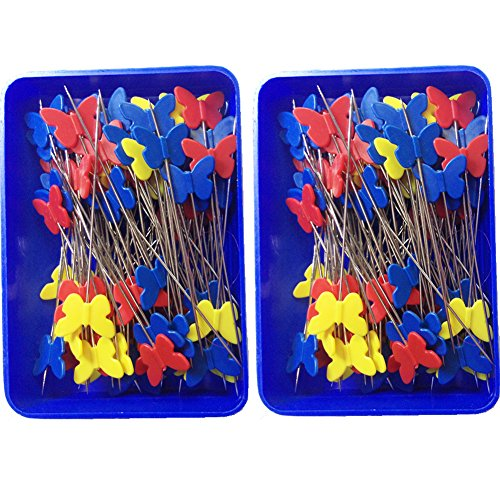 Flat Butterfly Pins (Rimobul Quilting Quilter's 2.1'' Flat Butterfly Head Pins Boxed, 80 Per Pack - Childhood Colors(2)