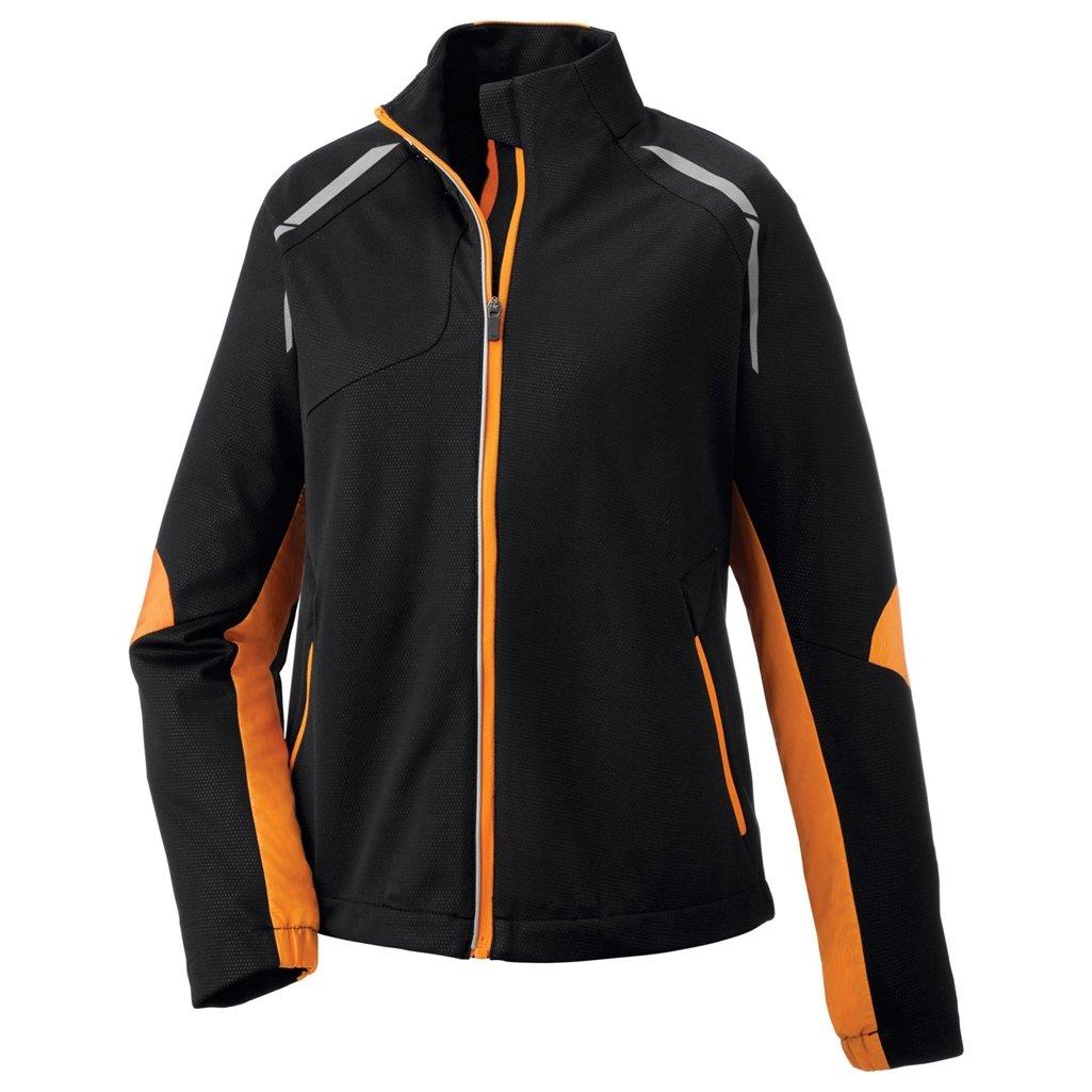Ash City Ladies Dynamo Hybrid Performance Soft Shell Jacket (Small, Black Mandarin/Black Silk)