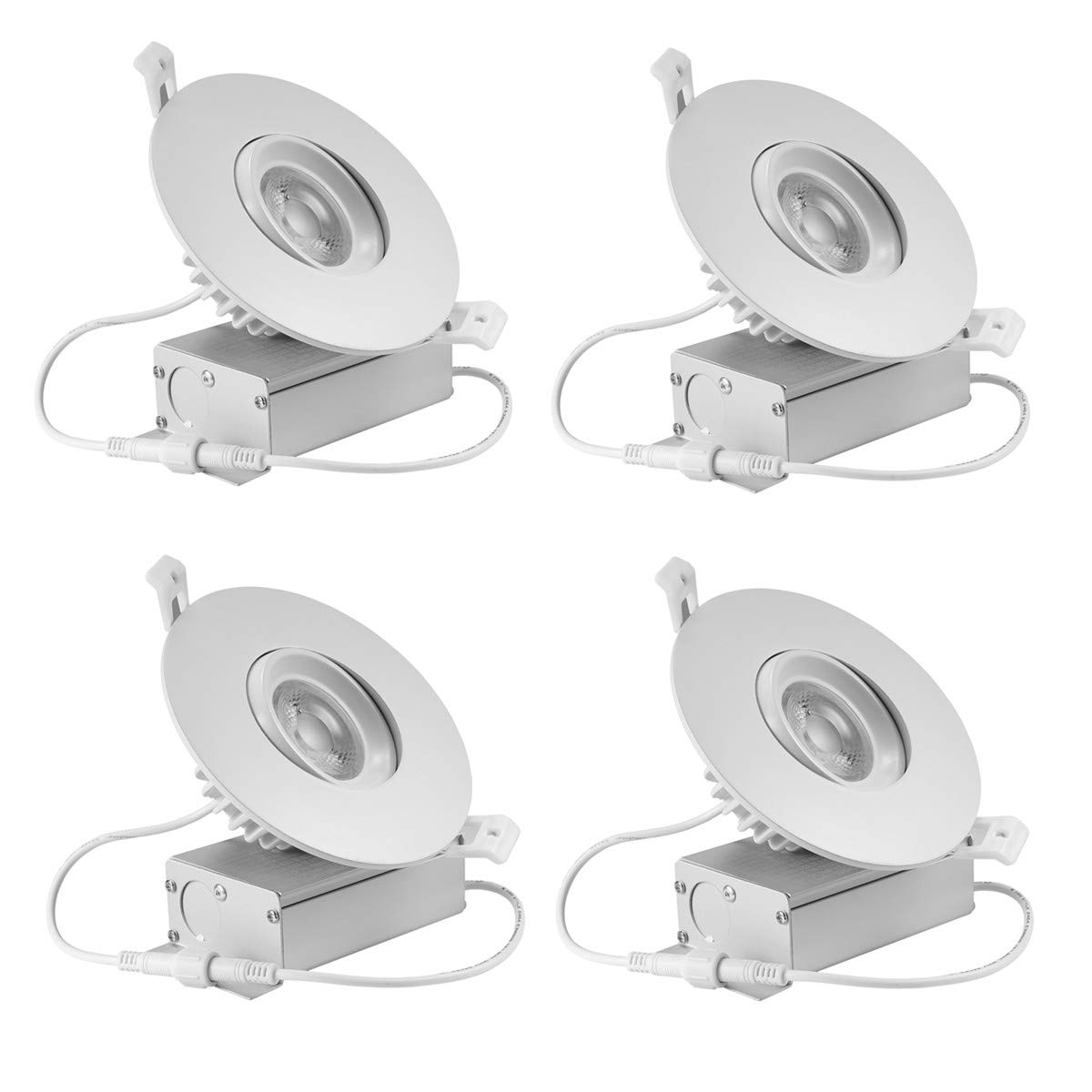 (4 Pack) NickLED 4 inches led gimbal Downlights-Directional Adjustable, 12W Dimmable LED Retrofit Recessed Lighting Fixture with IC Rated Junction box,1100lm(100W Replacement) 5000K-Nature White,120V