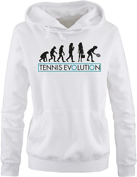 Donna Hoodie Cappuccio Sweater Tennis Evolution II Comedy Shirts Taglia S-XL Different Colors