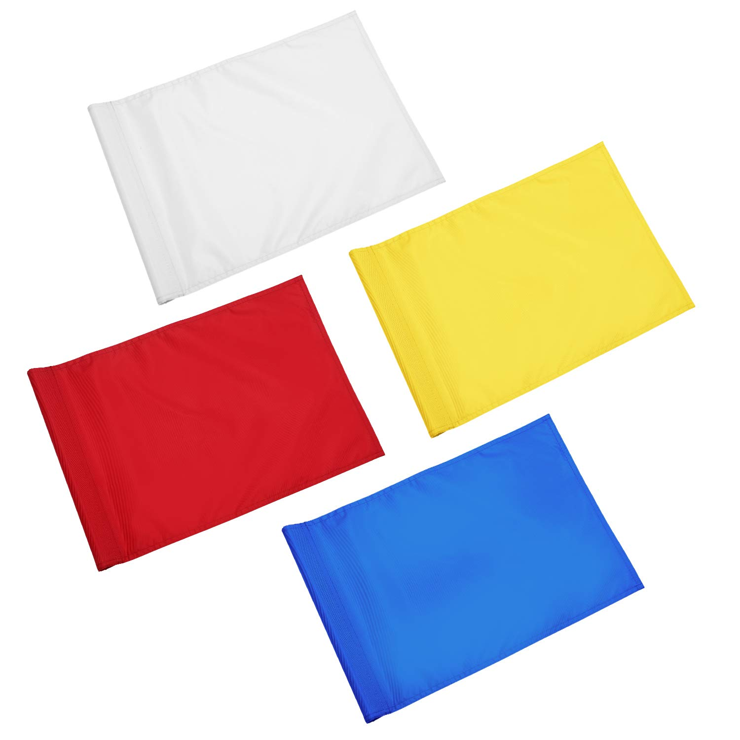 KINGTOP Solid Golf Flag with Plastic Insert, Putting Green Flags for Yard, Indoor/Outdoor, Garden Pin Flags, 420D Premium Nylon Flag, 13'' L x 20'' H, Red/White/Yellow/Blue by KINGTOP