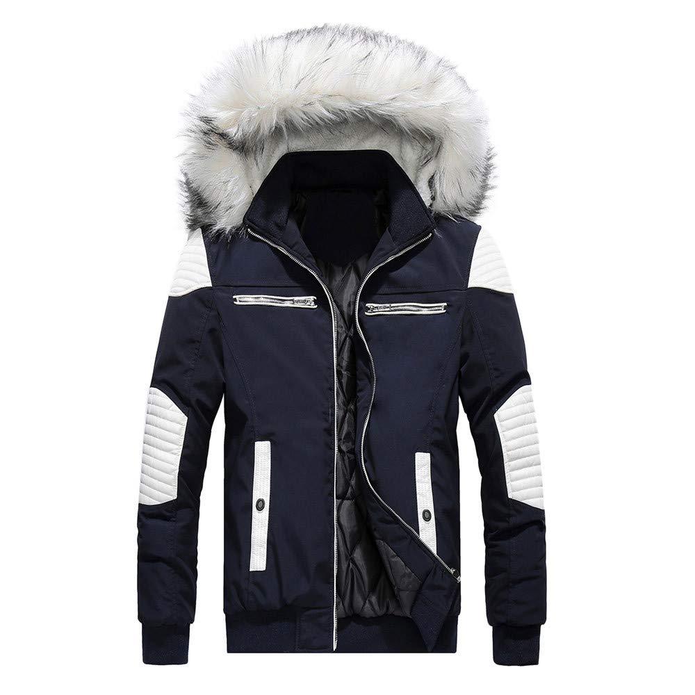 Mens Windbreaker,Men Camouflage Thickening Coat Pullover Outwear Windbreaker,Jacket PU Leather Men(M,Blue) by Ennglun Mens Windbreaker Boys Coats For Men