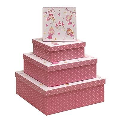 Cajas de regalo de hadas y castillo 4 cuadrado un nido de juego de 4 cajas