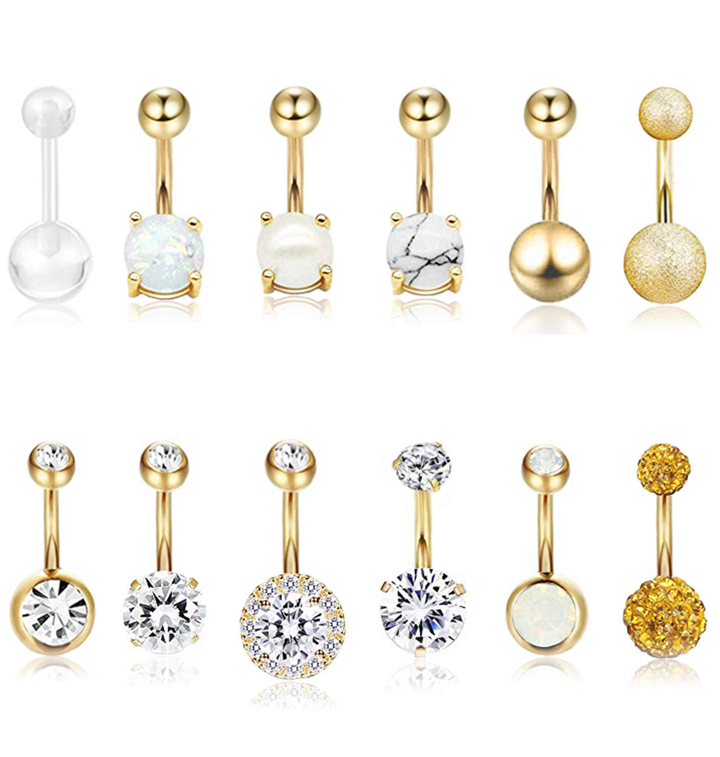 Masedy 12Pcs Belly Button Rings for Women Girls Surgical Steel Curved Navel Barbell Rings Body Piercing Jewelry Gold by Masedy