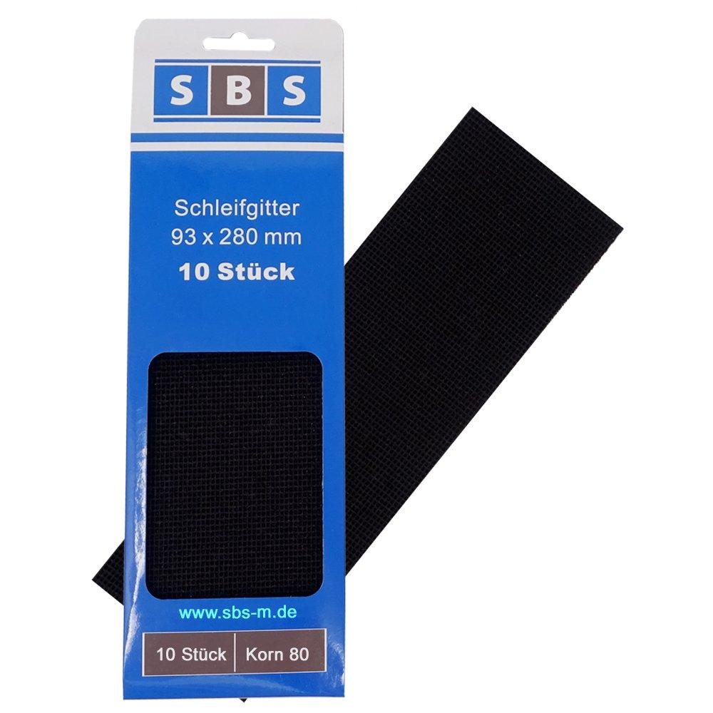 SBS® Gitterleinen 93x280mm | Korn 80 | 10 Stück | Schleifgitter Gitternetz-Scheiben