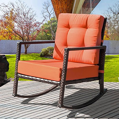 Merax. Cushioned Rattan Rocker Chair Rocking Armchair Chair Outdoor Patio Glider Lounge Wicker Chair Furniture with Cushion (Orange) (Wicker Chair Rocking Cushions)