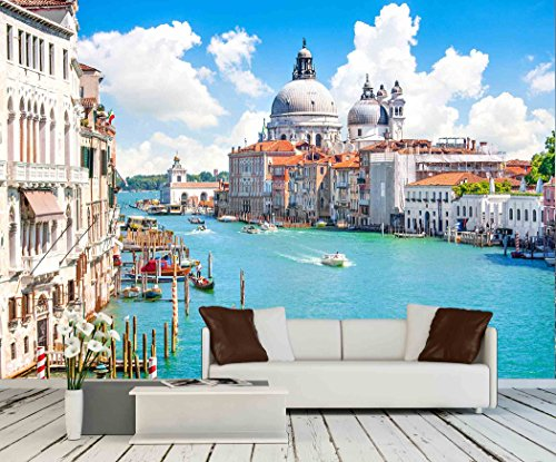 wall26 - Grand Canal with Basilica Di Santa Maria Della Salute, Venice, Italy - Removable Wall Mural | Self-adhesive Large Wallpaper - 100x144 inches - Basilica Outdoor Wall