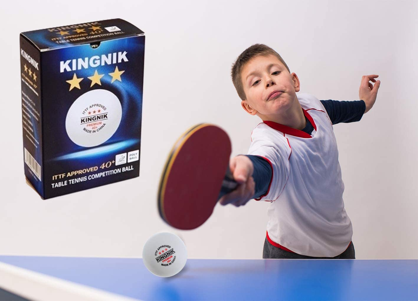 100 x kingnik formation de nouveaux matériaux Plastique ABS Blanc Balles de tennis de table