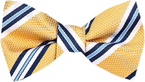 PenSee Mens Solid Bowtie Woven Self Tie Bow Ties For Men Tuxedo /& Wedding Bow Tie Various Colors Yellow Gold
