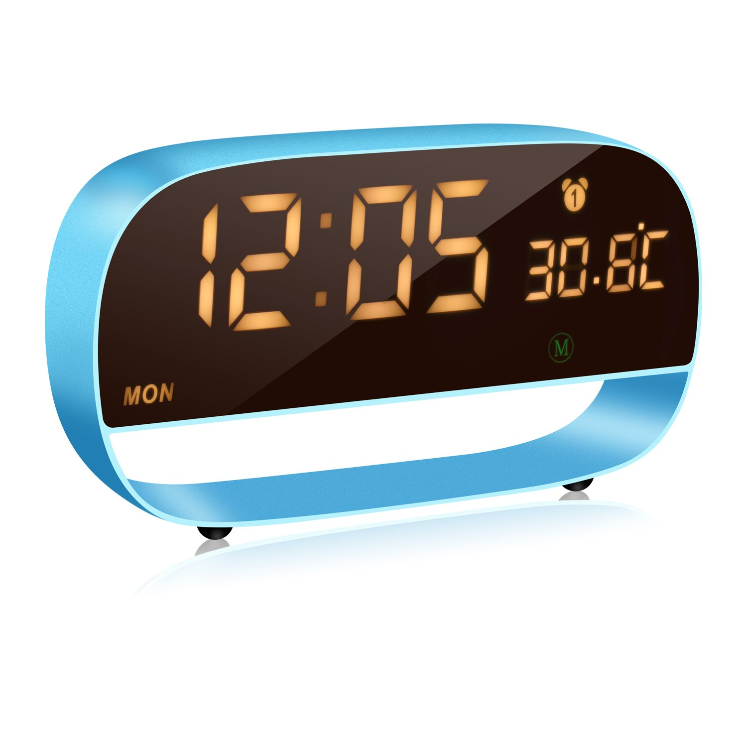 NEW RIXING Digital Alarm Clock, LED Metal Alarm Clock and Triple Alarms, Big Digit Display Date, Support Snooze,Temperature for Home Bedrooms.