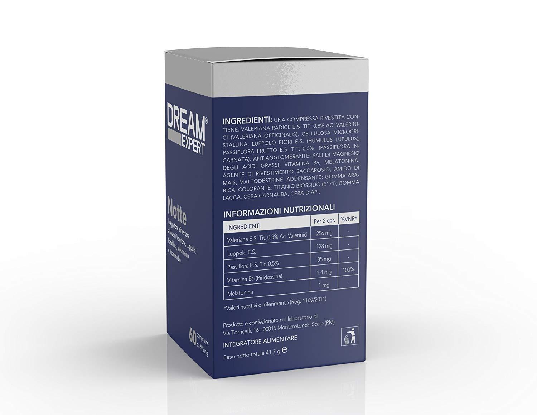 Dream Expert - 60 tabletas - Noche - pastillas para dormir naturales basadas en Melatonina (1 mg), Valeriana (256 mg), Lúpulo (128 mg), Pasionaria (85 mg) y ...
