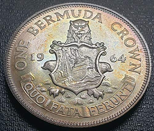 1964 BERMUDA SILVER CROWN COIN BRILLIANT UNCIRCULATED BEAUTIFUL TONING