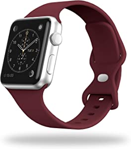STG Smart Watch Band Compatible with Apple Watch Band 38mm 40mm 42mm 44mm, Soft Silicone Replacement Sport Strap Compatible for iWatch SE Series 6/5/4/3/2/1 (38/40mm, Wine Red)