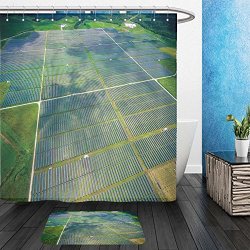 [Vanfan Bathroom 2?Suits 1 Shower Curtains & ?1 Floor Mats aerial view over solar panel farm outside of austin texas in webberville a megawatt power 460609321 From Bath room] (Austin Powers Suit For Sale)