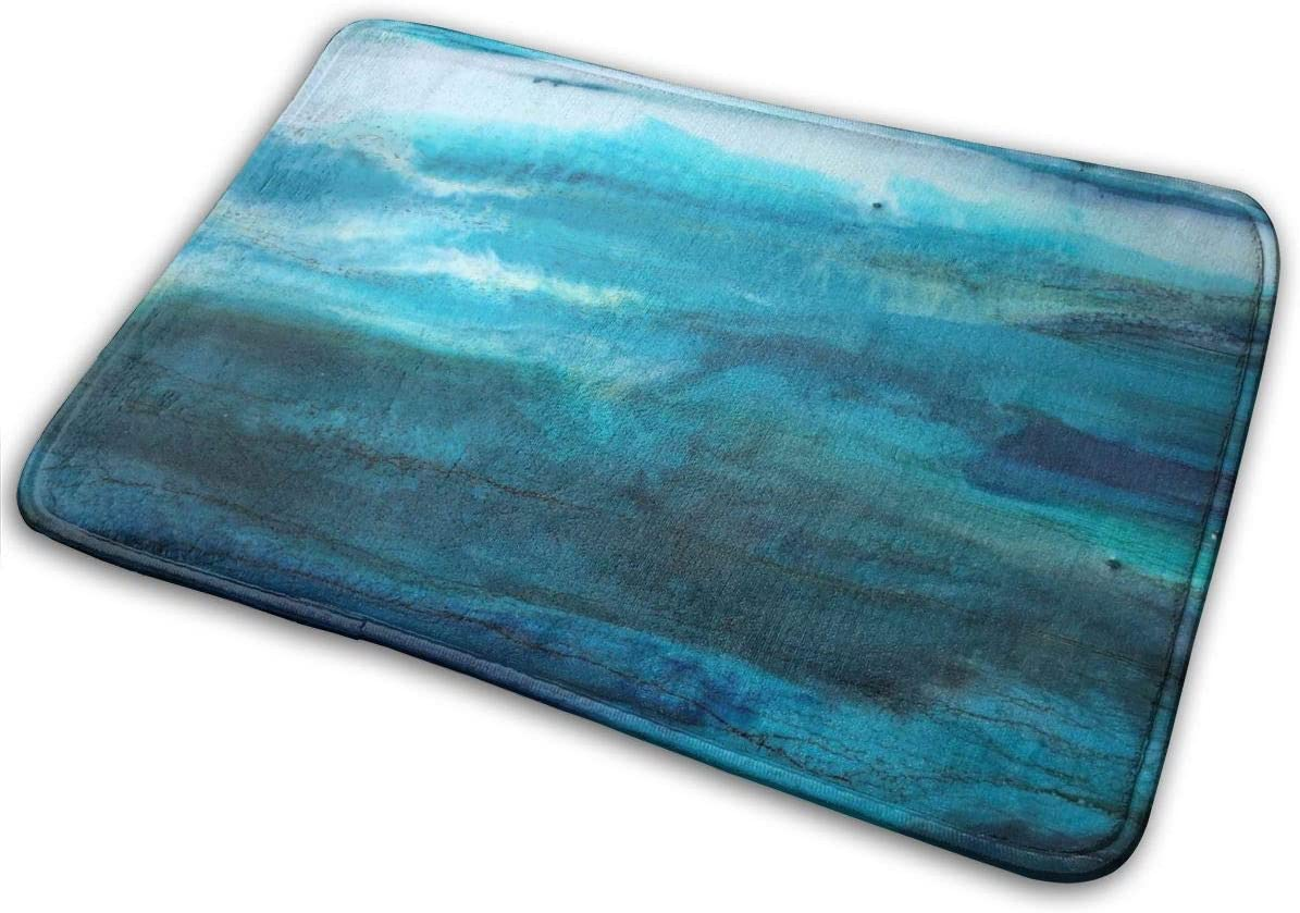 Amazon Com Hgab Jj Teal Blue Sea Ombre Watercolor Personalized Indoor Or Outdoor Doormat Bath Mat Non Slip And Thin Design Size 40x60cm Home Kitchen
