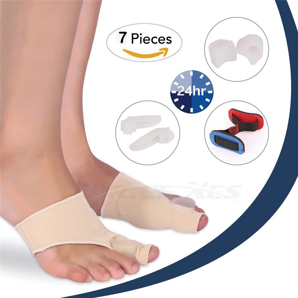 7 Pcs Bunion Corrector Relief Protector Sleeves Kit - Gel Toe Straightener + Hammer Toe Alignment Strap + Toe Separators Metatarsal Pads Night Splints for Hallux Valgus Plantar Fasciitis Overlapping