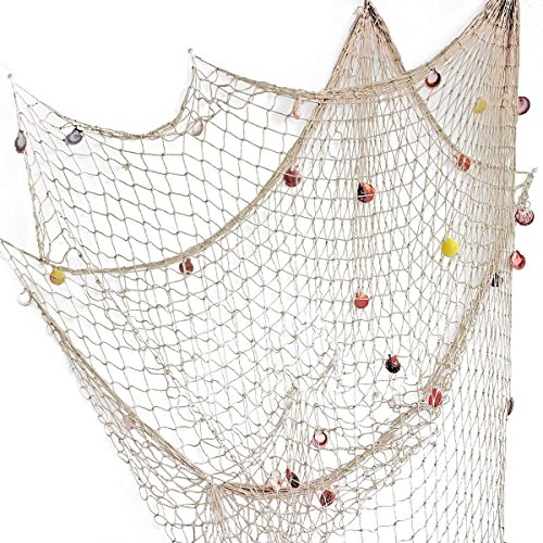 Nature Fish Net Wall Decoration with Shells, Ocean Themed Wall Hangings Fishing Net Party Decor for Pirate Party,Wedding,Photographing Decoration -