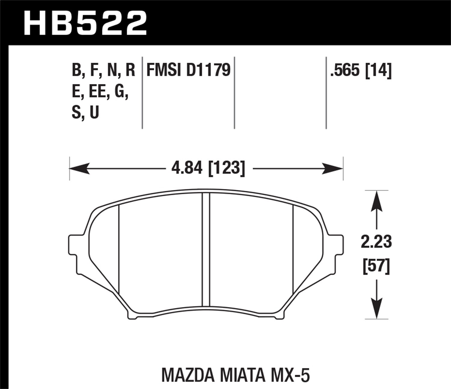 Front Hawk Performance HB522G.565 Disc Brake Pad