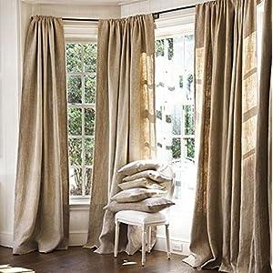 "Burlap Curtains Panel Set of 2 Drapes 100% jute 12 Ft curtain 144"" x 60"" Natural Burlap"