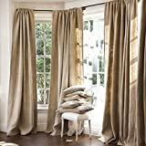 Burlap Curtains Panel Set of 2 Drapes 100% jute 18 Ft curtain 216″ x 60″ Natural Burlap Review