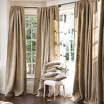 Burlap Curtains Panel Set Of 2 Drapes 100 Jute 8 Ft Curtain 96quot X