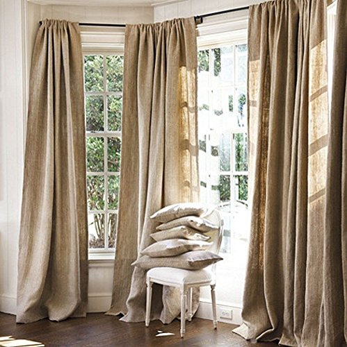 Burlap Curtains Panel Set of 2 Drapes 100% Jute 6 Ft Curtain 72