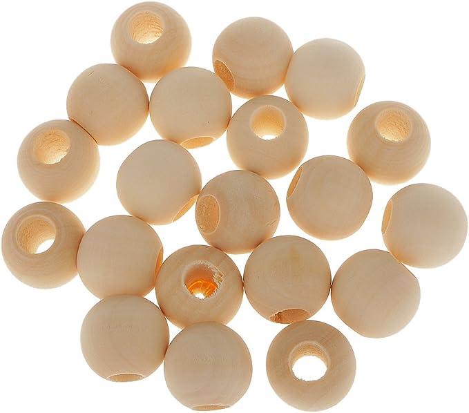 25 Perles bois vernies 20 mm //