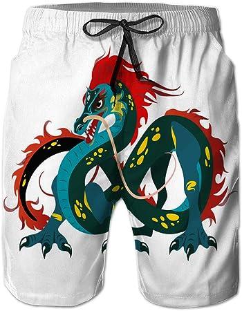 Holefg3b Pantalones Cortos de Playa para Hombre, bañador de Secado rápido, dragón Chino Tradicional, símbolo Antiguo de