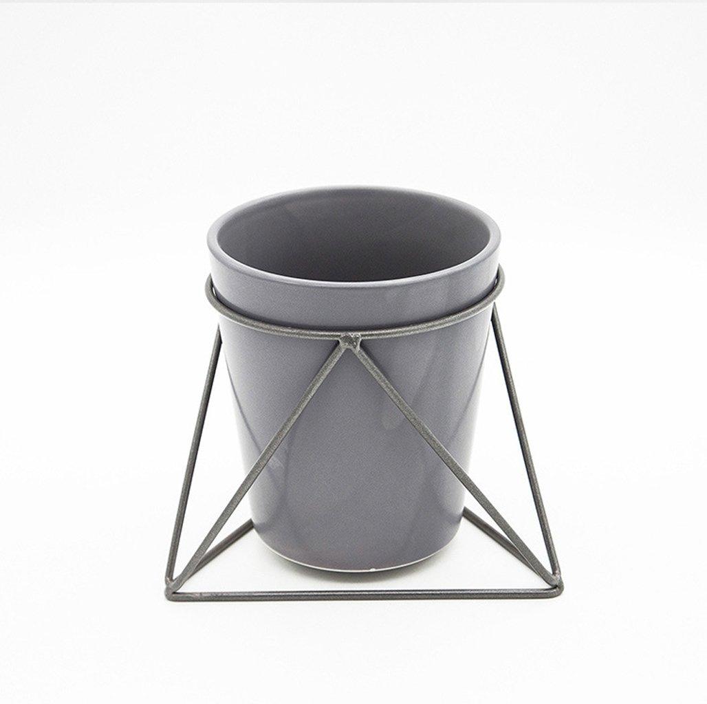 L;IAN Geometry Flower Rack Ceramic Flowerpot Iron Holder Combination