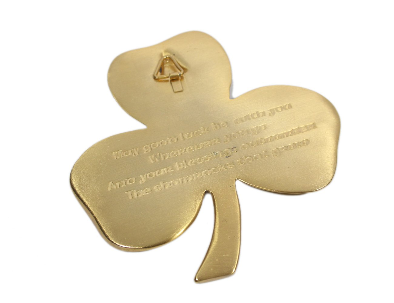 Amazon.com: Shamrock Wall Hanging & Blessing Gold Plated Pewter ...