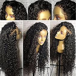 Brazilian Virgin Hair Lace Front Human Hair Wigs For Black Women 130% Density Deep Curly Wig Natural Hair Line With Baby Hair (20 inch,Lace Front Wig)