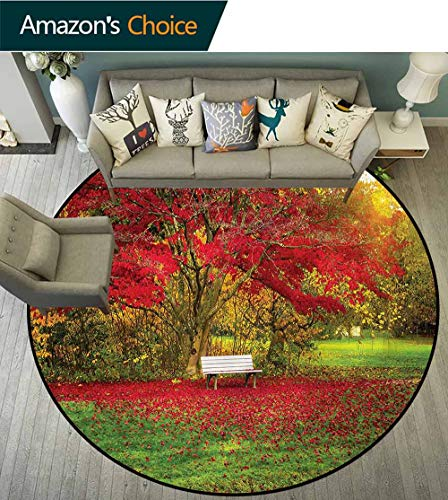 RUGSMAT Tree Luxury Round Area Rugs,Bench in The Park Maple Leaves Carpet Door Pad for Bedroom/Living Room/Balcony/Kitchen Mat Round-55
