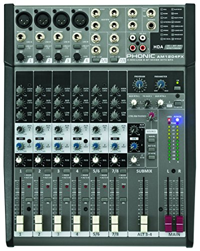 Phonic Analog Mixer with 4 Mono Mic/Line, 2 Stereo Inputs, USB Interface, 32-bit Digital FX (AM1204FX