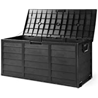 Gardeon 290L Outdoor Storage Box Container Garden Shed Toys Tool Chest Indoor Outdoor-All Black
