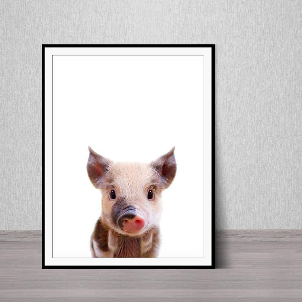 JXFFF Granja Animal Print Farmhouse Imprimible Pig Wall Art Nursery Animal Print Nursery Decoración Baby Piglet Modern Farmhouse