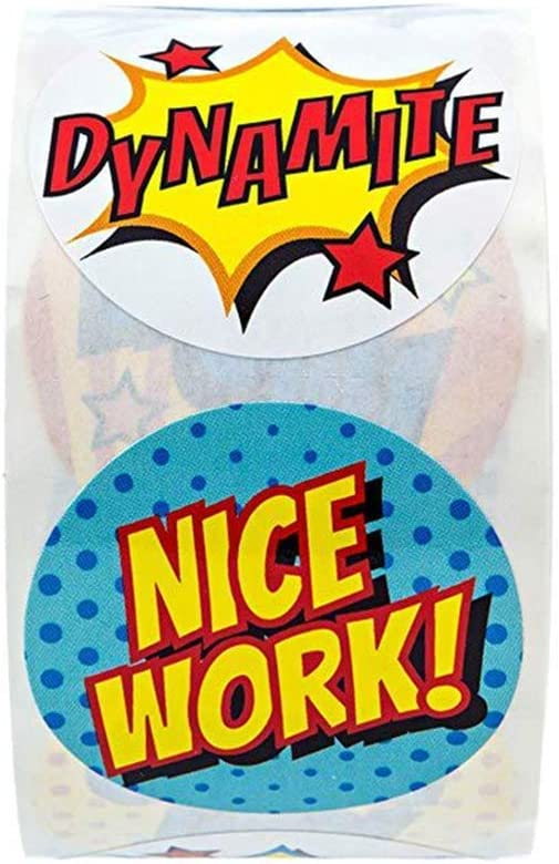 CiciBear Teacher Reward Motivational Stickers for Kids 1000 Pieces Student Incentives in 8 Designs,2 Rolls,1 Inch in Diameter