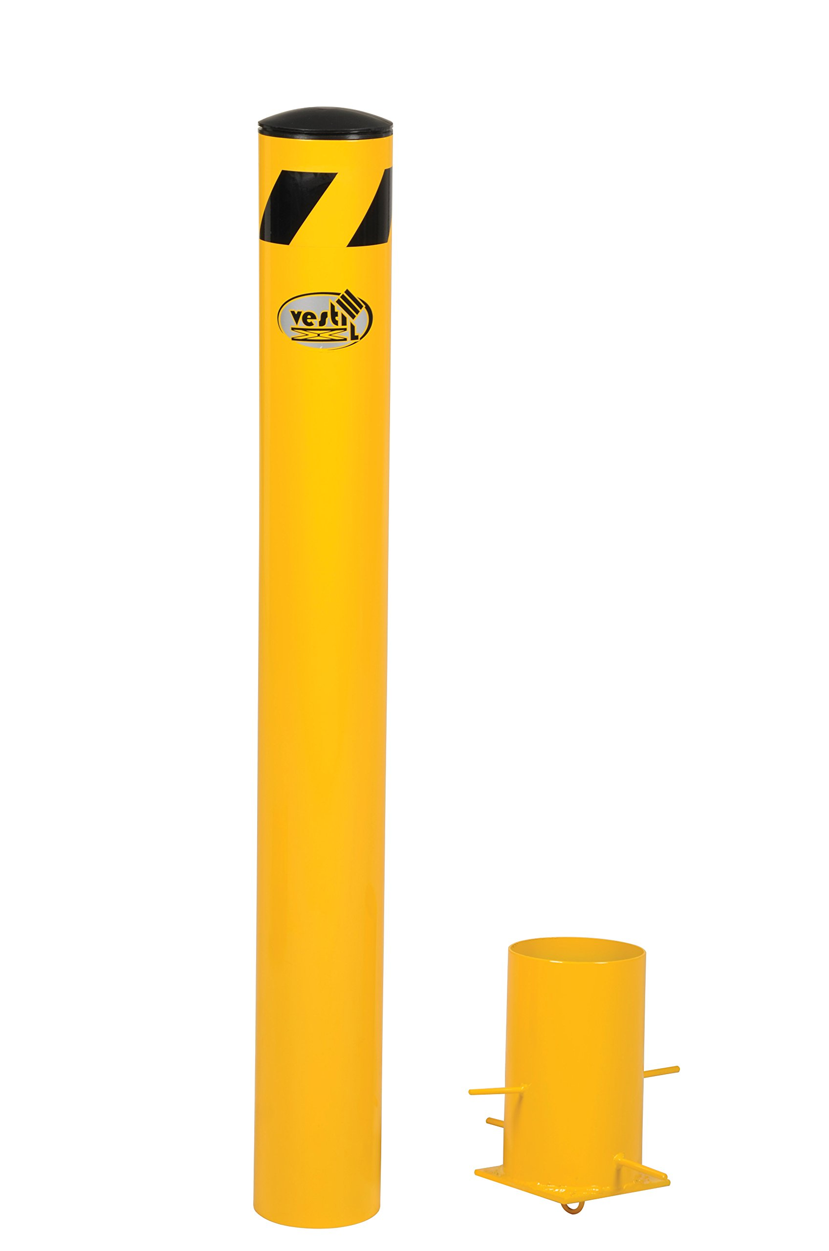 Vestil BOL-R-42-5.5 Removable Steel Pipe Safety Bollard, 42'' x 5.5'', Yellow