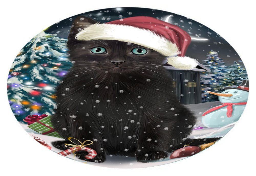 Doggie of the Day Have a Holly Jolly Black Cat Christmas Oval Envelope Seals OVE62552 (20)